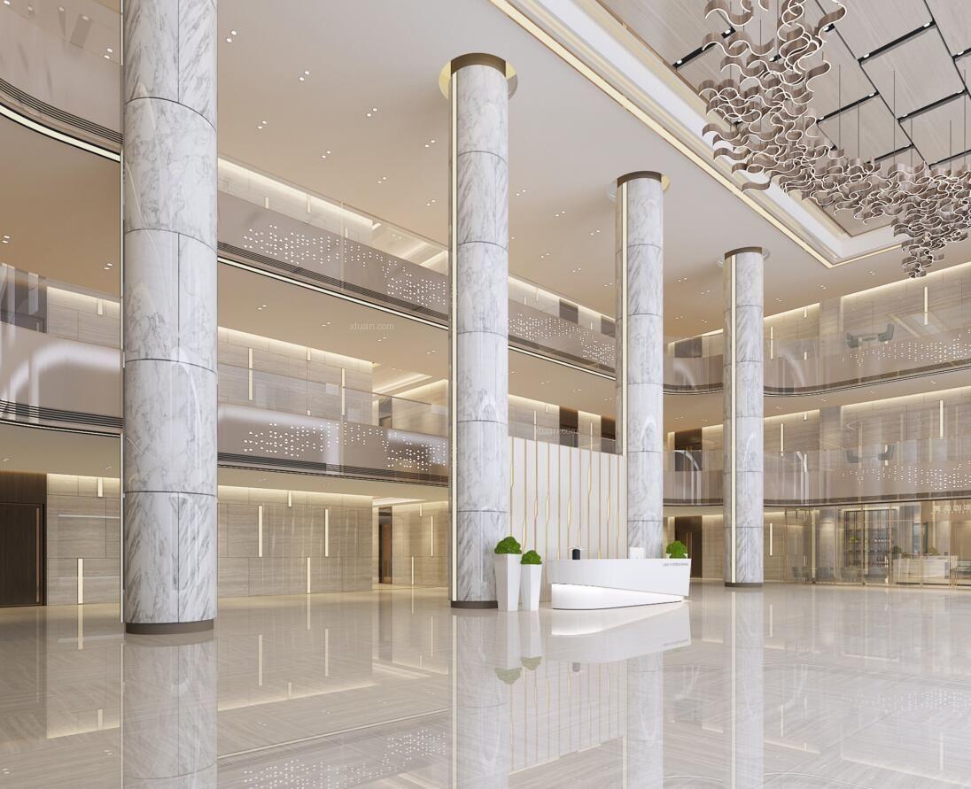 公司办公楼接待大厅装饰设计效果图欣赏