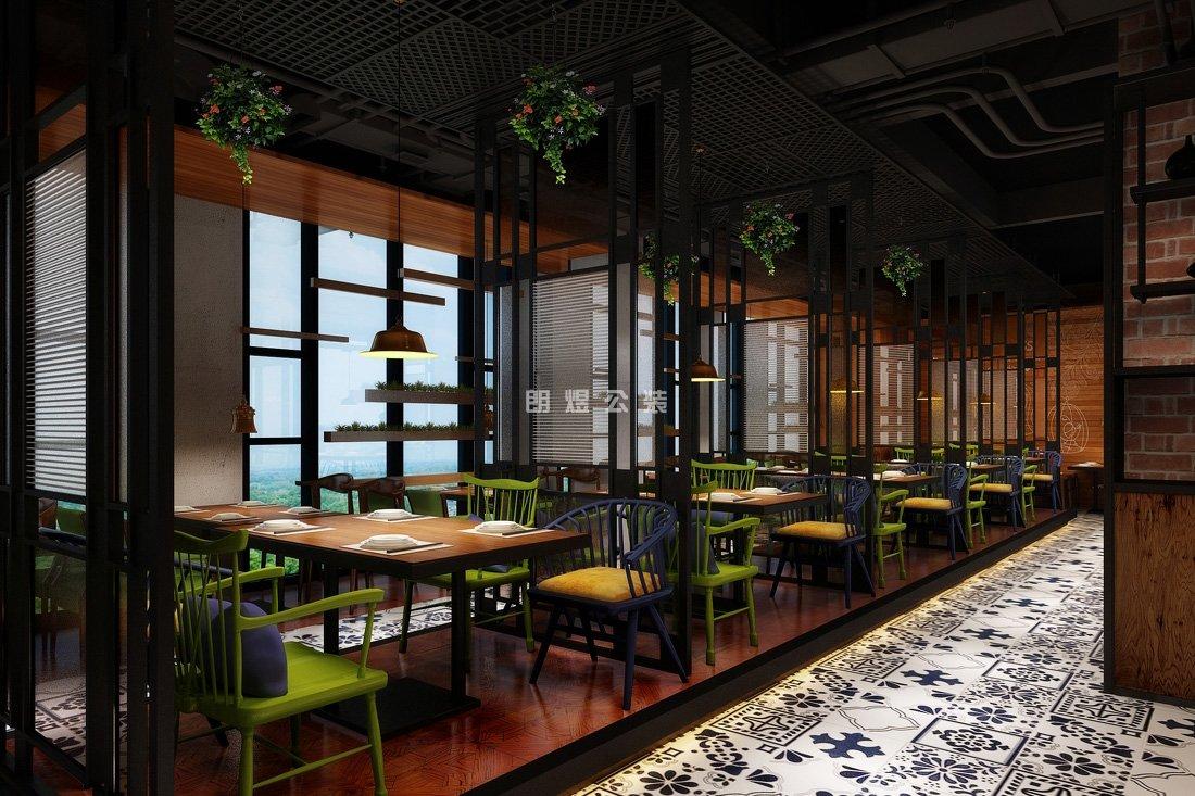 成都100平小餐馆店铺装修效果图